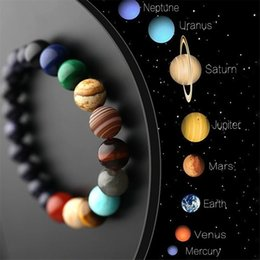 Discount universe bracelet - Lovers Eight Planets Natural Stone Bracelet Universe Yoga Chakra Galaxy Solar System Bracelets for Men or Women Jewelry