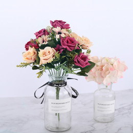 $enCountryForm.capitalKeyWord Australia - Small Artificial Rose Silk Flowers Red Wedding Faux Flowers For Home Living Room Decoration Fake Rose Craft Flowers High Quality