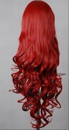 Anime wigs red online shopping - WIG Hot heat resistant Party hair gt gt Fashion Dark Red Long Curly Anime party Cosplay Wig Full Wig