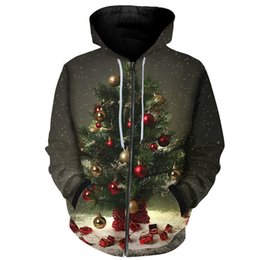 Wholesale christmas hoody online – oversize Cloudstyle New Year Zipper Hoody Men Harajuku Tracksuits D Print Christmas Tree Bright Ball Sweatshirts Fashion Quality Hoodies