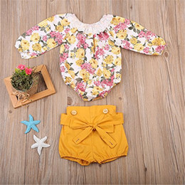 Cute Outfits For Spring Australia - Baby Girls Rompers Shorts Sets Lace Brace Shorts Jumpsuits For Children Spring Summer Floral Printed Outfits A41703