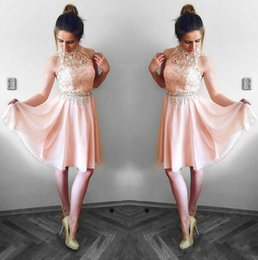 Wholesale Lovely Blush Pink Homecoming Dresses A Line Halter Neck Lace Top Chiffon Mini Short Cocktail Dress Party Gowns Graduation Dress