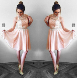 Dresses tops online shopping - Lovely Blush Pink Homecoming Dresses A Line Halter Neck Lace Top Chiffon Mini Short Cocktail Dress Party Gowns Graduation Dress
