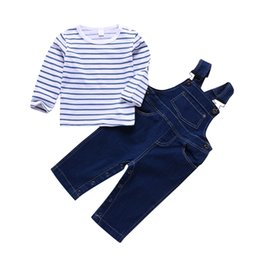 Discount boys striped suspenders - Baby Boys Girls Clothes Stripe Shirt Denim Suspender Pants Toddler Two Piece Set Baby Long Sleeves T-shirts Clothing 0-2