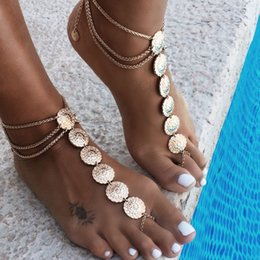 $enCountryForm.capitalKeyWord Australia - Hot Summer Vintage Ankle Bracelet Round Carving Flower Coins Anklet Barefoot Sandals Foot Jewelry Anklets For Women To Beach
