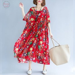 Loose Long Linen dress online shopping - Womens Summer Fashion Plus Size Cotton Linen Xl Xl Xl Women Big Floral Floral Loose Print Casual Long Dresses Arrival