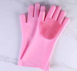 rubber gloves dishwashing 2019 - Magic Cleaning Brush Kitchen Glove Heat Resistant Resuable Household Scrubber Hair Care Dishwashing Gloves Kitchen Bed B