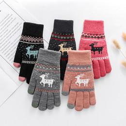 Korean gloves online shopping - Gloves Female Winter Brushed And Thick Warm Korean style Cute Students Yarn Knitted Christmas Deer Cross Border Manufacturers Wh