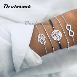 $enCountryForm.capitalKeyWord NZ - 5pcs set Vintage Bohemia Silver Color Hollow Out Palm Charm Bracelet Sets For Women Rope Chain Bracelets Beads Jewelry Gifts