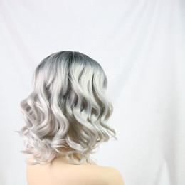 Beautiful Black Wave Hair Australia - Free Shipping Nice Grey Short wig Hair Chemical Fiber WigShort Bob Curly wave Wigs For Beautiful Black White Women