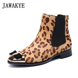 Bowties For Women Australia - 2018 Leopard horse hair Ankle Boots for women round metal toe bowties short botas mujer flat heel butterfly knot martin shoes