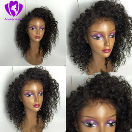 kinky synthetic hair Canada - Kinky Curly Bob Lace Front simulation Human Hair Wigs Brazilian Kinky Curly Wig For Women 180 Density synthetic wig for women