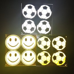 Wholesale Bag Reflective Paste Smiling Face Football Pattern bike Sticker Traffic Security Caution Bicycle Stick Factory Direct Selling y p1