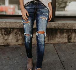 Wholesale new fashionable pants for sale – dress New Style Women Jeans Leggings Fashionable Vintage Ripped Casual Mid Waist Jeans Designer Women Pencil Pants
