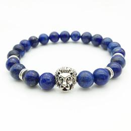 Neue 1 STÜCKE Einzelhandel Männer Designer Schmuck Armbänder 8mm Stein Perlen Gold Silber Überzogene Löwenkopf Flechten Armbänder Heißer Verkauf