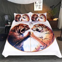 $enCountryForm.capitalKeyWord Australia - King Size Bedding Set Tiger Printed Soft Tribal Style 3D Duvet Cover Queen White Home Textile Single Double Bed Cover with Pillowcase