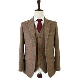 $enCountryForm.capitalKeyWord UK - tailor made slim fit suits for men retro wool Brown Herringbone Tweed wedding dress custom mens 3 piece suit Blazers