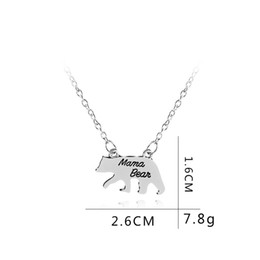jewelry alphabet letters UK - 1 English alphabet Mama Bear Baby Bear animal Pendant Necklaces letter Enamel Silver Bar Fashion Mother and Daughter Son necklace Jewelry