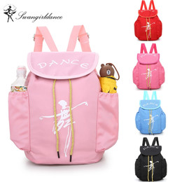 Wholesale dance bags pink for sale - Group buy Child Kids Pink ballet bag Backpack Waterproof canvas Ballet Dance Bags Pink Ballerina GiftAS8658