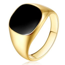 $enCountryForm.capitalKeyWord UK - Men Vintage Rings Gold Silver Plated Black Enamel Rings Punk Classic Black Drip Imitation Stones Male Enamel Ring Jewelry