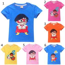 Cotton mask for kids online shopping - New Ryan toys review mask girl boy T Shirts Cartoon Print T shirt Striped Tee Shirt Cotton For Kids Clothing girls tops clothes B