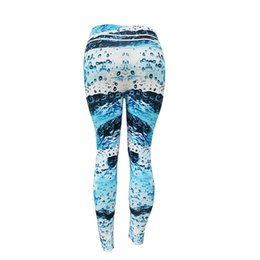 $enCountryForm.capitalKeyWord UK - CHAMSGEND Women's Blue Wave Digital Print Hips High Waist Sports Yoga Pants Fitness Running Tight Yoga Pants