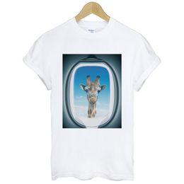 Airplane Art Australia - Airplane Window-Giraffe funny humor art pop hipster party gift white t-shirt Cool xxxtentacion tshirt Brand shirts jeans Print