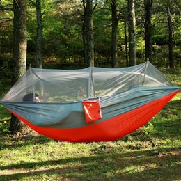 outdoor camping beds nets NZ - Garden Hanging Nylon Bed and Mosquito Net Outdoor Travel Jungle Camping Tent Hammock Camping Swing Hanging Bed 4 Color 260*140CM