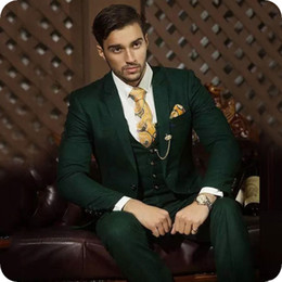 coat suit man design Australia - Hunter Green Men Suits Slim Fit Latest Designs Groom Tuxedos Prom Party Male Attire Terno Masculino Costume Homme 3Piece(Coat+Pants+Vest)