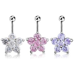 $enCountryForm.capitalKeyWord NZ - Flower Navel Belly Button Bar Ring Barbell White Pink Crystal Ball Body Piercing Lip Ear Nose Dance Party Body Jewelry
