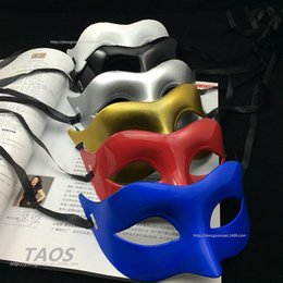 $enCountryForm.capitalKeyWord Australia - 100pcs Men's Ball Mask Fancy Dress Venetian Masks Masquerade Masks Plastic Half Face Mask Black White Gold Silver Blue Red 20180920#