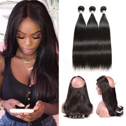 Discount brown hair bundle - 360 Lace Frontal With Bundle Straight Brazilian Hair Weave 3 Bundles With Frontal Straight Brazilian Virgin Hair Bundles