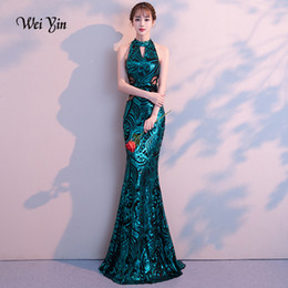 Discount cowl neck long evening dresses Weiyin 2019 New Sexy Mermaid Long Evening Dresses Vestido De Festa Luxury Green Sequin Formal Party Dress Prom Gowns Y19