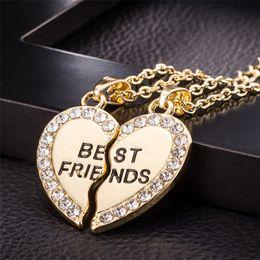 $enCountryForm.capitalKeyWord Australia - Stylish Jewelry Unisex 2 Pcs Bff Necklace Best Friend Mens Womens Heart Pendant Necklace Couple Harf Kolye Gold color Chain #1