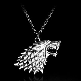 game thrones stark necklace Australia - game of thrones necklace song of ice and fire vintage stark dire wolf antique silver pendant for men and women wholesale