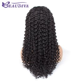 kinky curly wig middle part Australia - Beaudiva 4*4 Kinky Curly Lace Wigs Middle Part Human Hair Wigs Pre Plucked Hairline With Baby Hair Peruvian Lace Wigs