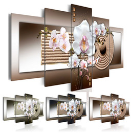 zen wall art Australia - No Frame 5 Panels Modern Canvas Prints Artwork Beautiful Zen Orchid Flower Canvas Painting Wall Art Home Decor For Living Room Picture
