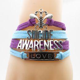 Dancer Bracelets Australia - Fashion Braid Leather Spiderman Bracelets Infinity Love Dancer suicide awarenss Bracelets For women party jewelry