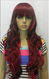 Mix Red Hair Australia - WIG Hot heat resistant Party hair>>Beautiful red mixed black long curly women's wig