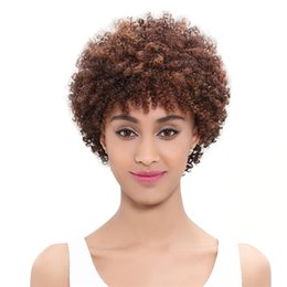 short afro kinky human hair Australia - Afro Kinky Curly Lace Front Wigs for Black Women 27# 6 inch Short Malaysian Human Hair Swiss Lace Glueless Wig