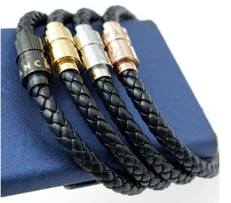 Men titaniuM Magnetic bracelet online shopping - 316L Titanium steel Men magnetic buckle genuine leather braid bracelet in cm for man bangle k real gold mont Ettike charm bracelet jewel