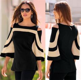 $enCountryForm.capitalKeyWord Australia - New Designer Women Clothes Blouse Black White Color Block Bell Sleeve Cold Shoulder Top New Mujer Camisa Feminina Plus Size Office Ladies