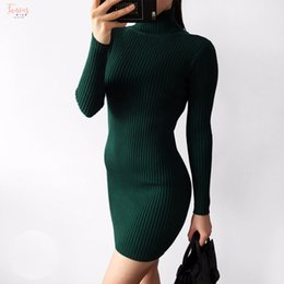 turtle charm green Australia - Warm And Charm Slim Package Hip Knitted Sweater Short Sleeve Dress Long Sleeved Turtleneck Sheath Thick Bodycon Sweater Dress