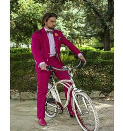 SunShine dreSS online shopping - XLY Sunshine Slim Fit Fuchsia Groom Tuxedos Notched Lapel Men s Wedding Dress Suits Prom Clothing Holiday Suit Blazer Tux Jacket Pants