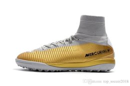Cr7 Ronaldo Boots Australia - Cristiano Ronaldo Turf Football Boots Original Gold White CR7 Soccer Cleats Mercurial Superfly V Top Quality Indoor Soccer Shoes