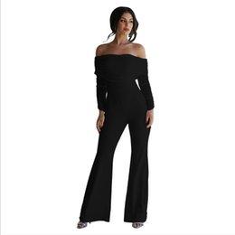 Wholesale black one shoulder romper resale online – Off the Shoulder Jumpsuits Comfortable Black sapphire Blue One Piece Romper Flare Pants Fashion Pleated Jumpsuit