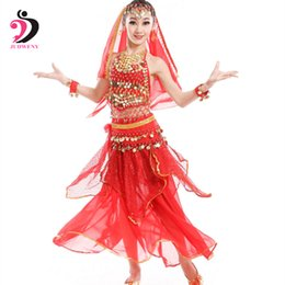 Red Indian Costumes Australia - Belly Dance Costumes Set Kids Oriental Dance Girls Belly Dancing India Clothes Bellydance Child Kids Indian 3 Colors