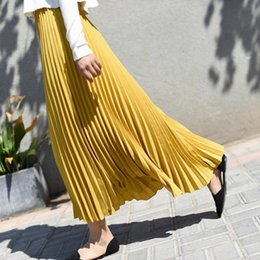 a6ac25f82e 2019 Summer New Arrival Korean Style Ankle-length Long Pleated Skirt  Elegant Chiffon Skirt Office Skirts Womens Free Shipping Y19043002