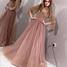 special roses UK - 2019 Sexy Rose Gold A-Line Prom Dresses Special Occasion Formal Special Occasion 1 2 Long sleeve Evening Dresses