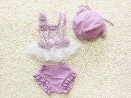 $enCountryForm.capitalKeyWord Australia - Toddle beach Swimwear korean fashion lace children swimsuit sweet applique with lace baby girls two-piece bathing suit 6set lot 1-8age ab900